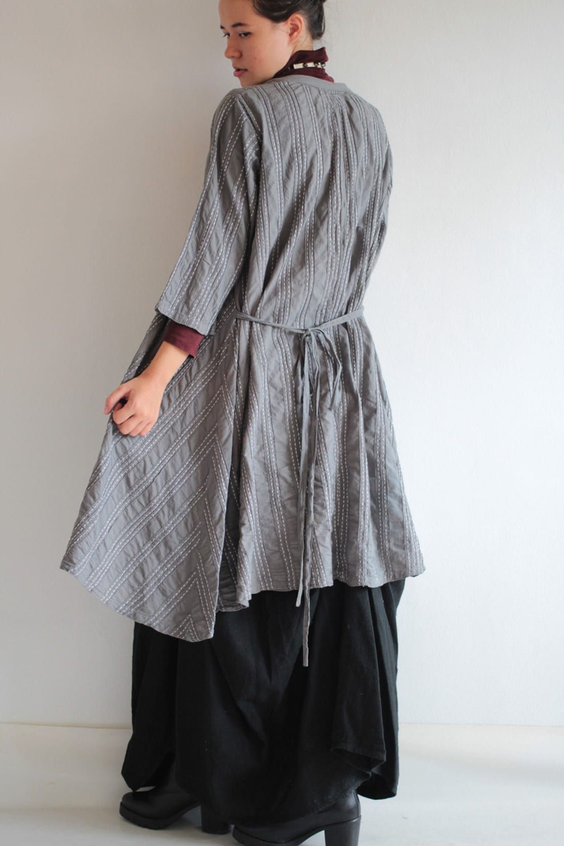 Simple front button jacket/dress 100%cotton with hand