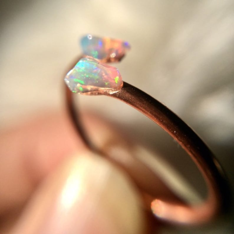 Opal Ring Dainty Stacking Skinny Rings Stack Raw Gemstone image 0