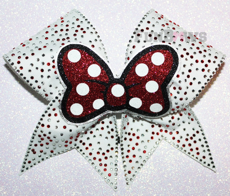 Absolutely AWESOME Rhinestone Minnie Mouse 3-D BOW cheer bow by FunBows !!