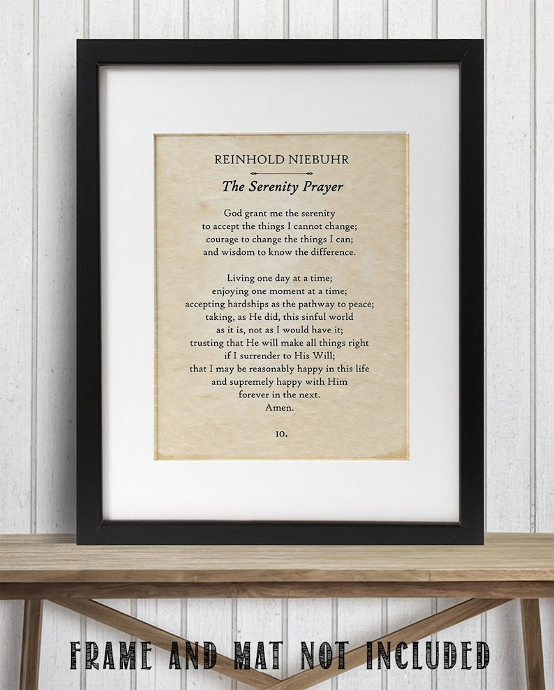 Great Gift and Decor Serenity Prayer Reinhold Niebuhr 11x14 Unframed Book Page Print