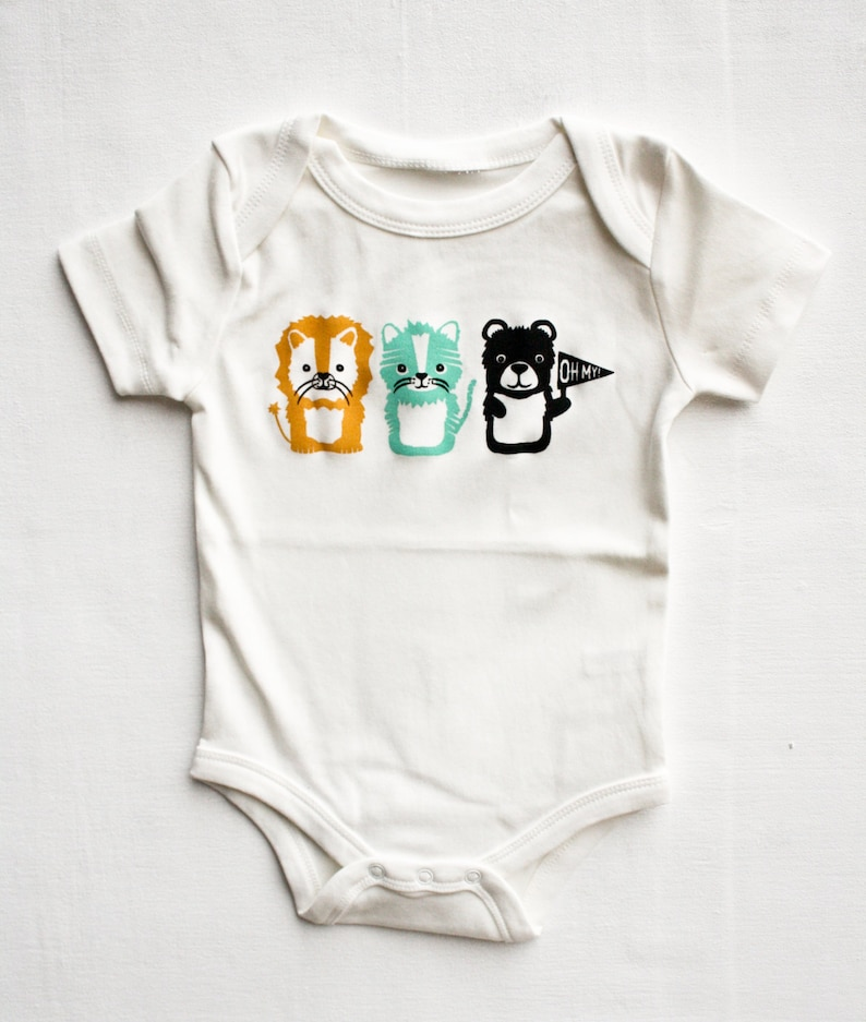 screen printed baby bodysuit lion tiger and bear baby gift shower present gender neutral organic Oh My gifts under 25 Wizard of Oz