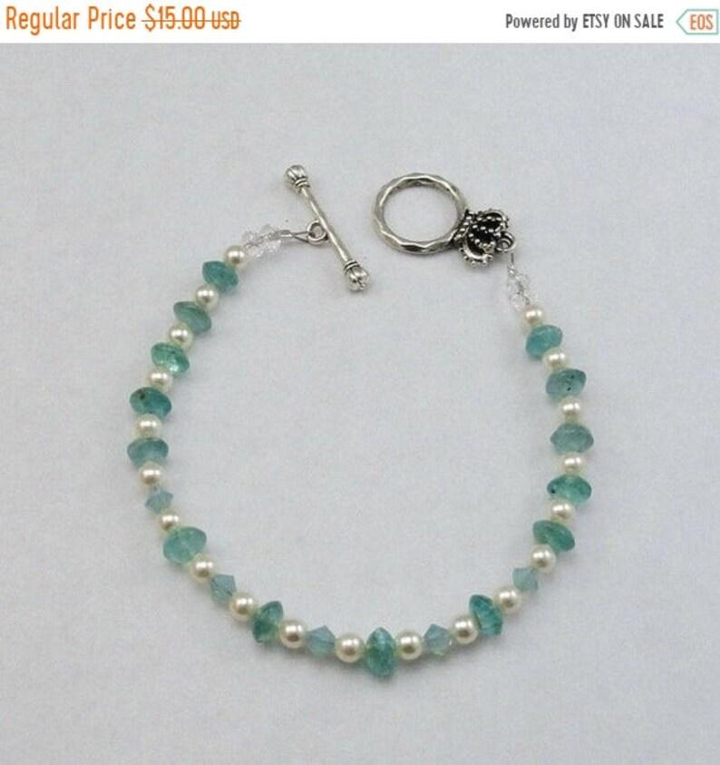 FALL SALE  Apatite Swarovski Pearl Bracelet Crown Toggle image 0