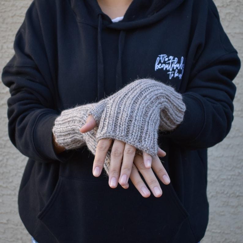 Rib pattern arm warmers tan beige alpaca acrylic fingerless gloves Christmas gift for her womens knit fingerless mittens wrist warmers