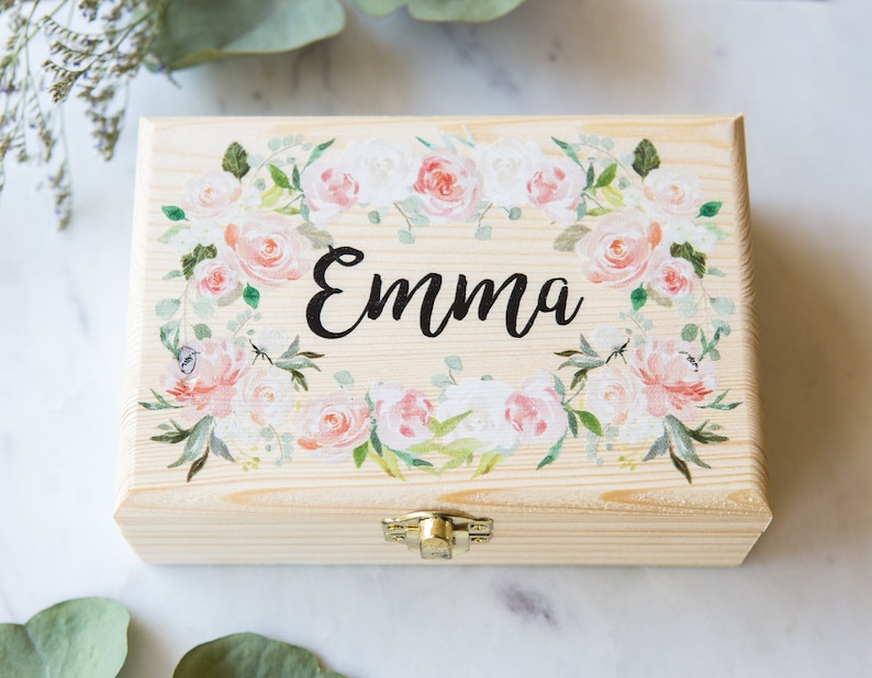Flower Girl or Bridesmaids Gift Box Jewelry Box Personalized image 0