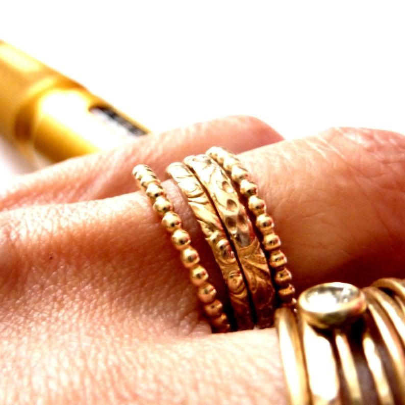 Flower & Beads Rings  14k Gold Filled Rings Set  Handmade image 0