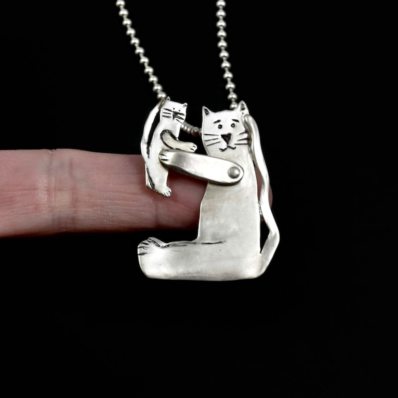 Cat Cat Jewelry Sterling Cat Necklace Unusual Jewelry Gift image 0