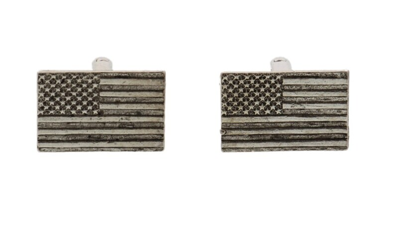 Silver American Flag Cuff Links image 0