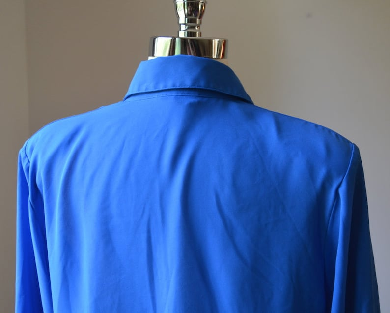 Vintage Light Weight Long Sleeve Dress Blouse 80/'s Royal Blue Vintage Long Sleeve Blouse Size MedLarge Women/'s 1012 By Notations