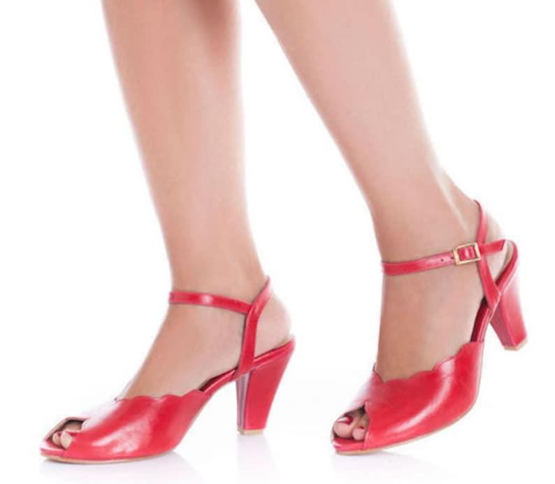 Adina Vegan  Bridal Shoes Red High Heel Wedding Sandal with a image 0