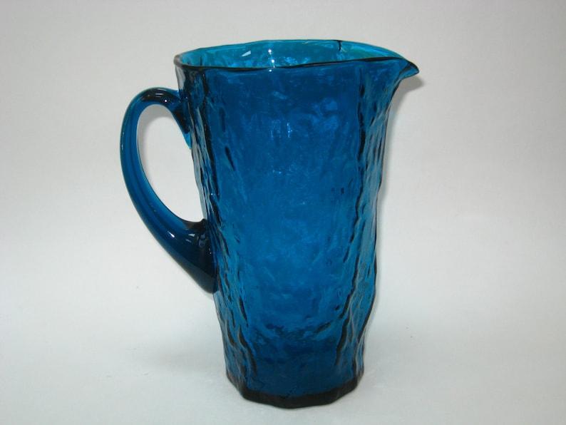 9 Mid Century Water Jug Morgantown Glass Crinkle SAN JUAN 54 oz Pitcher in PEACOCK Blue