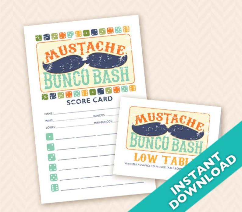 Mustache Bunco Bash Bunco Scorecard and Table Marker image 0