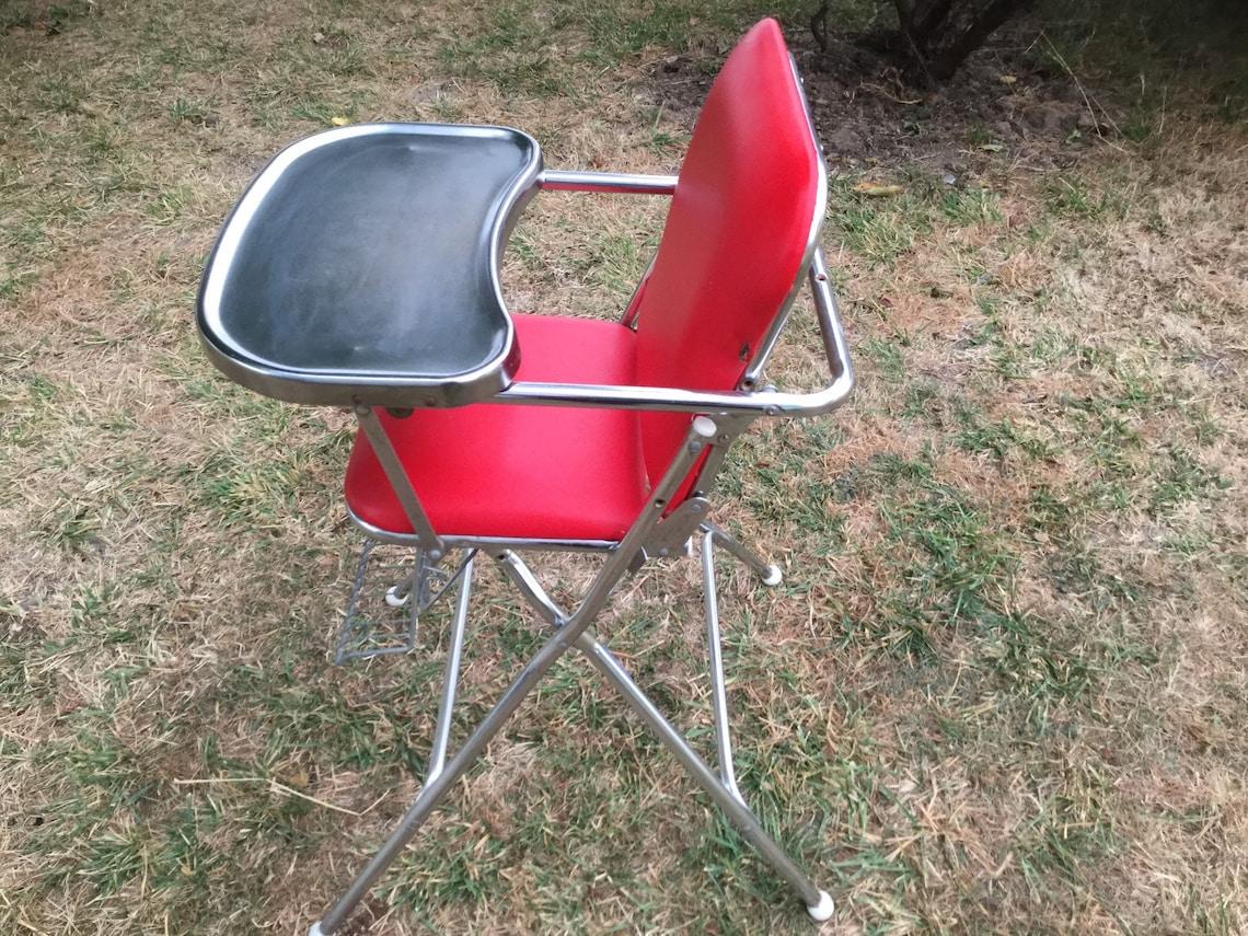 High Chair Cosco Red Vinyl Chrome 1950