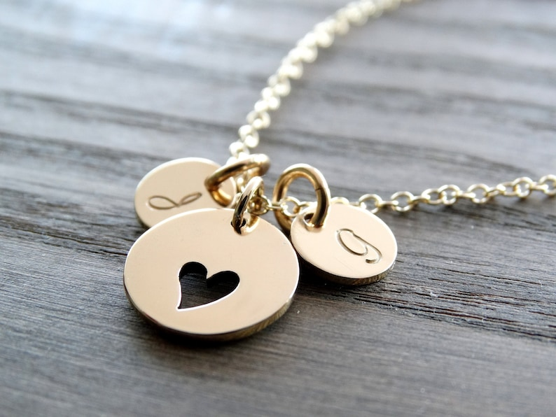 Initial necklace gold Heart Necklace with Initials Mother image 0