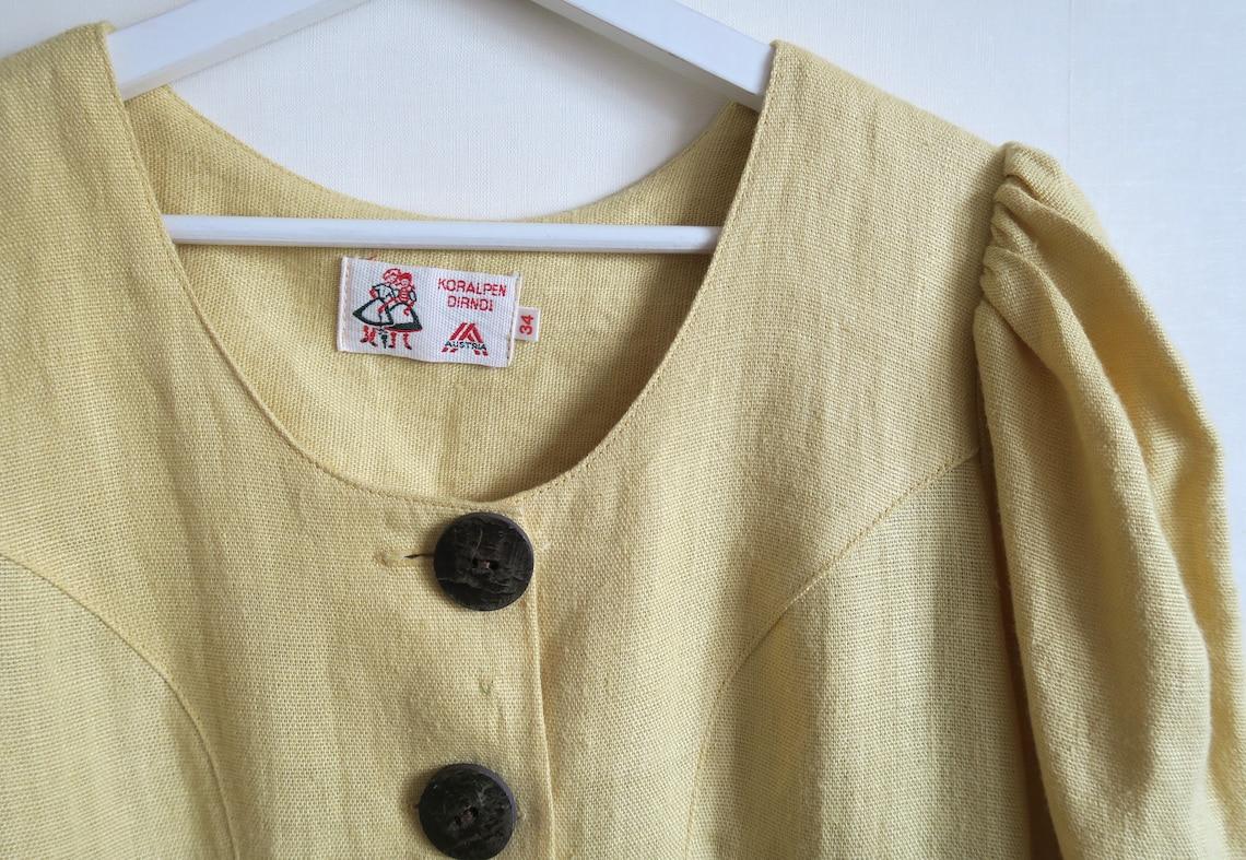 Austrian Trachten Dress by Koralpen Dirndl Pale Yellow Linen