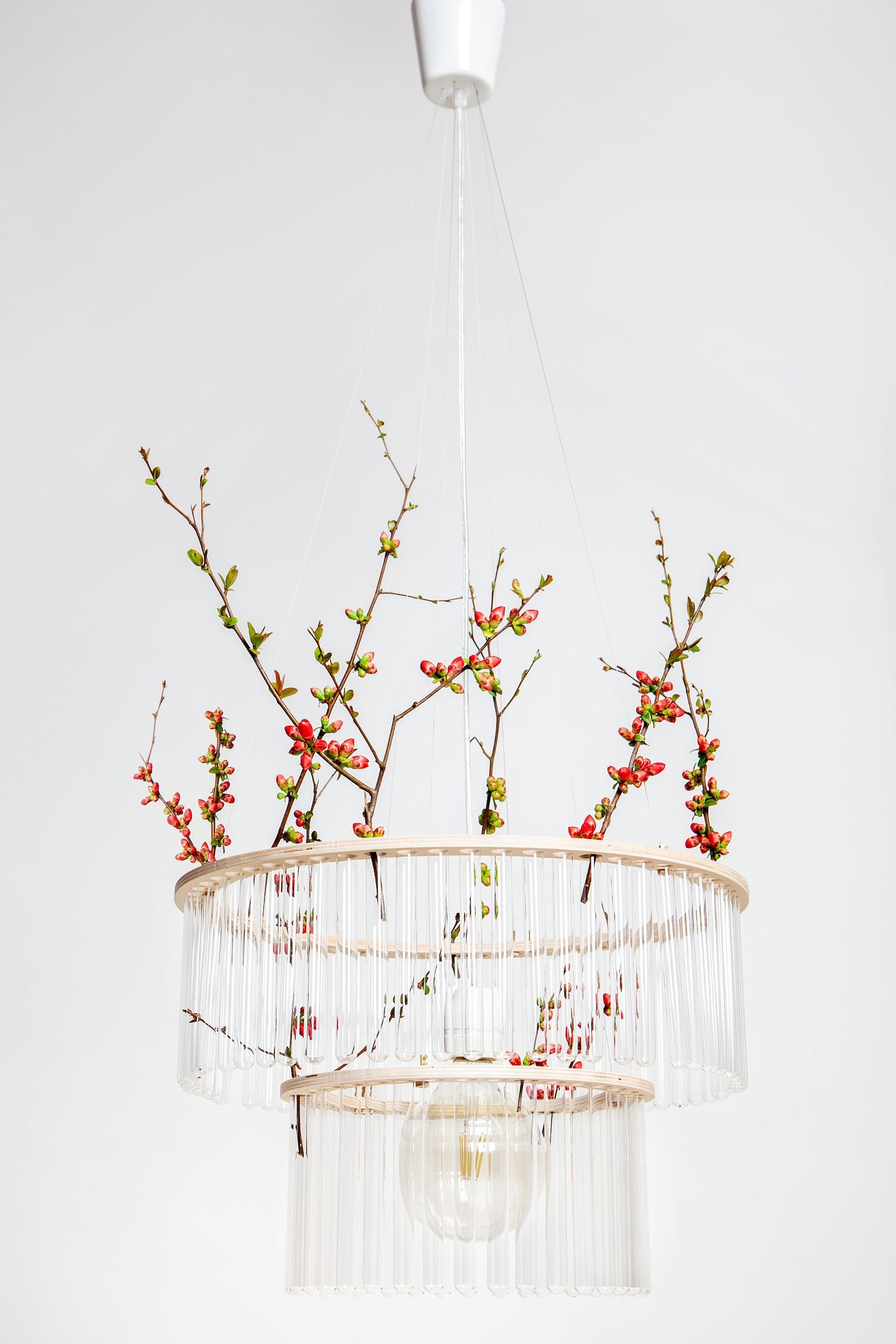 test tube clear chandelier