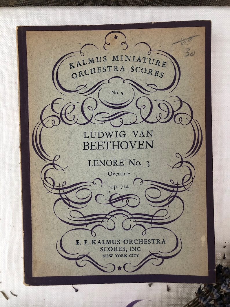 Franck /& Wagner Trio of Vintage Kalmus Miniature Orchestra Scores Books Beethoven Pretty Muted Decor!