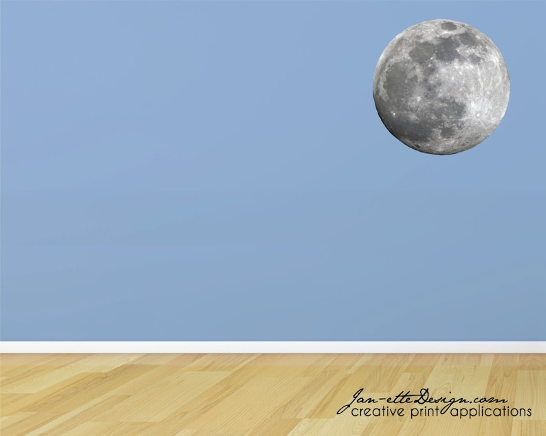 Full Moon Fabric Wall Decal Moon Wall Sticker Space Wall Art image 0