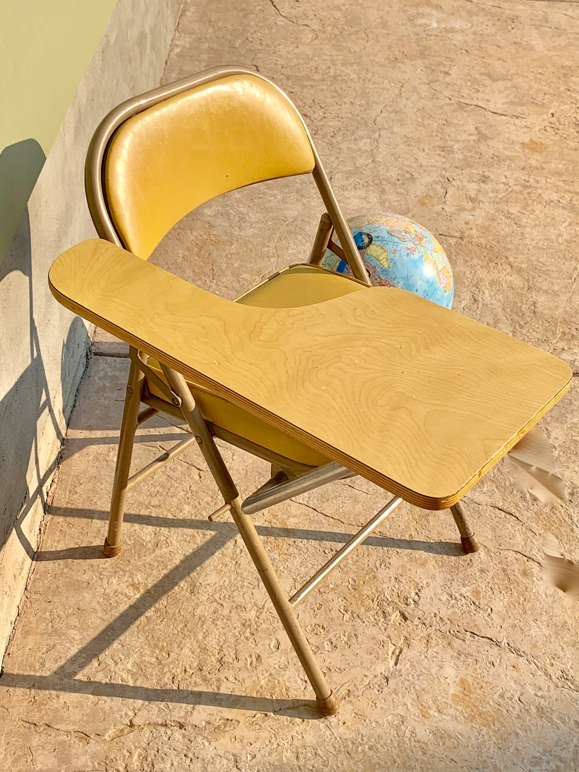 Vintage Industrial Student Desk - Tablet Arm Chair - 1970s - Krueger - Miracle Fold Arm - State Police - Folding Metal Chair Yellow