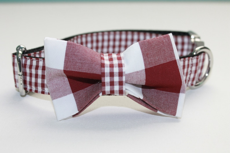 Preppy Garnet and White Plaid Dog Collar with BOW OPTION Use drop down menu to choose.