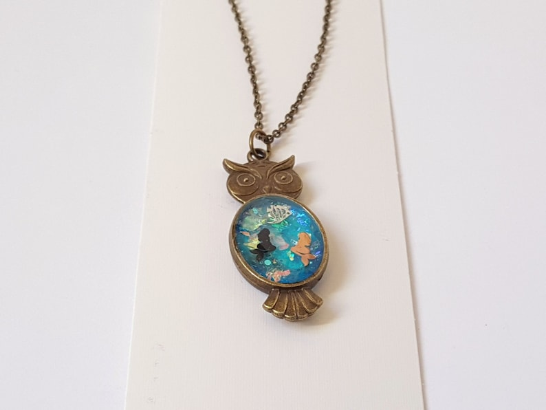 18 Inch Bronze Chain and Lobster Clasp Resin Pendant Necklace Bronze Mermaid Owl Pendant Necklace with Bronze Chain