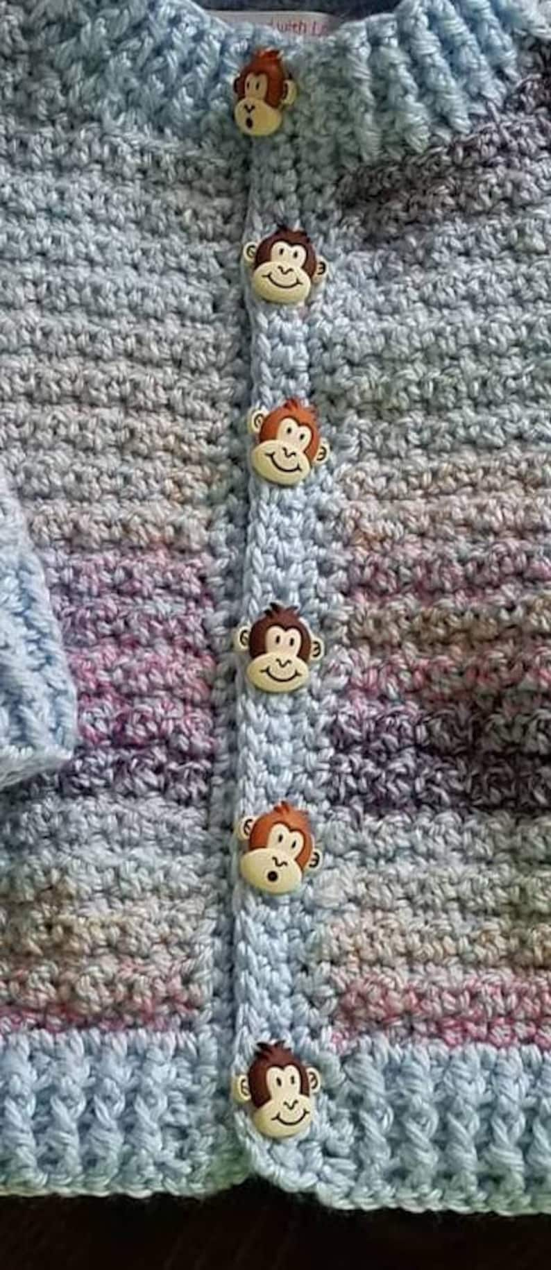 Monkey button sweater and hat set