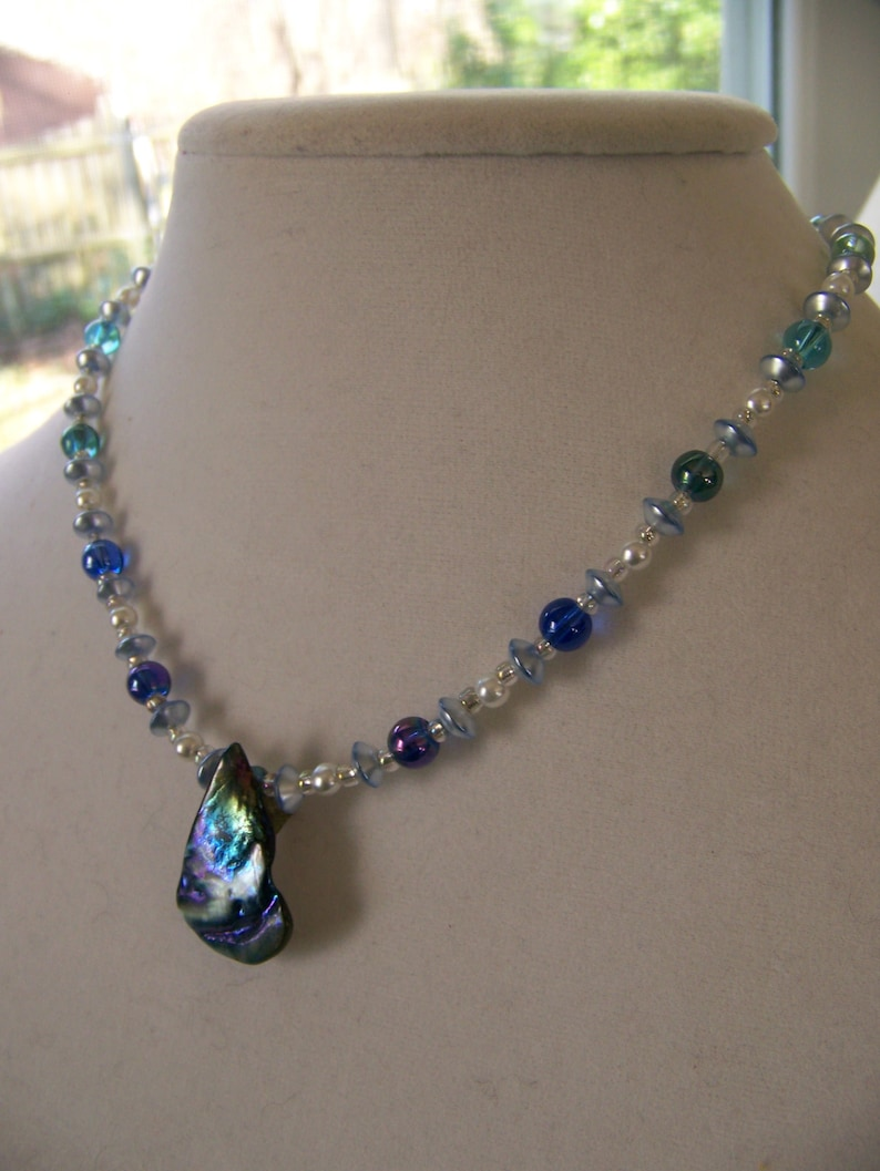 Pendant Necklace Iridescent Blue Gray Teardrop Shell  image 0