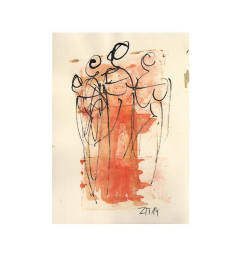 Ladies  people  Original Drawing with colored Ink and image 0