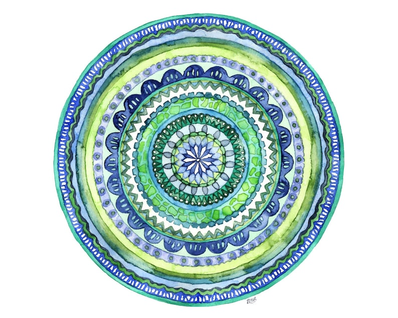 Watercolor Mandala Painting  Print titled Green image 0