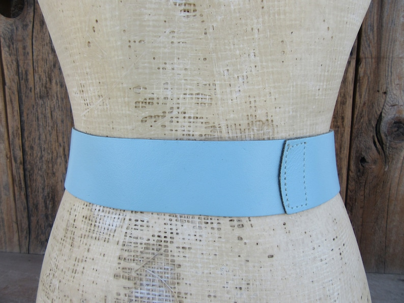 80s Sky Blue Wide Leather Waist Belt Perforated Leather Asymmetrical 1980s Statement Belt 26.5 to 33 M L