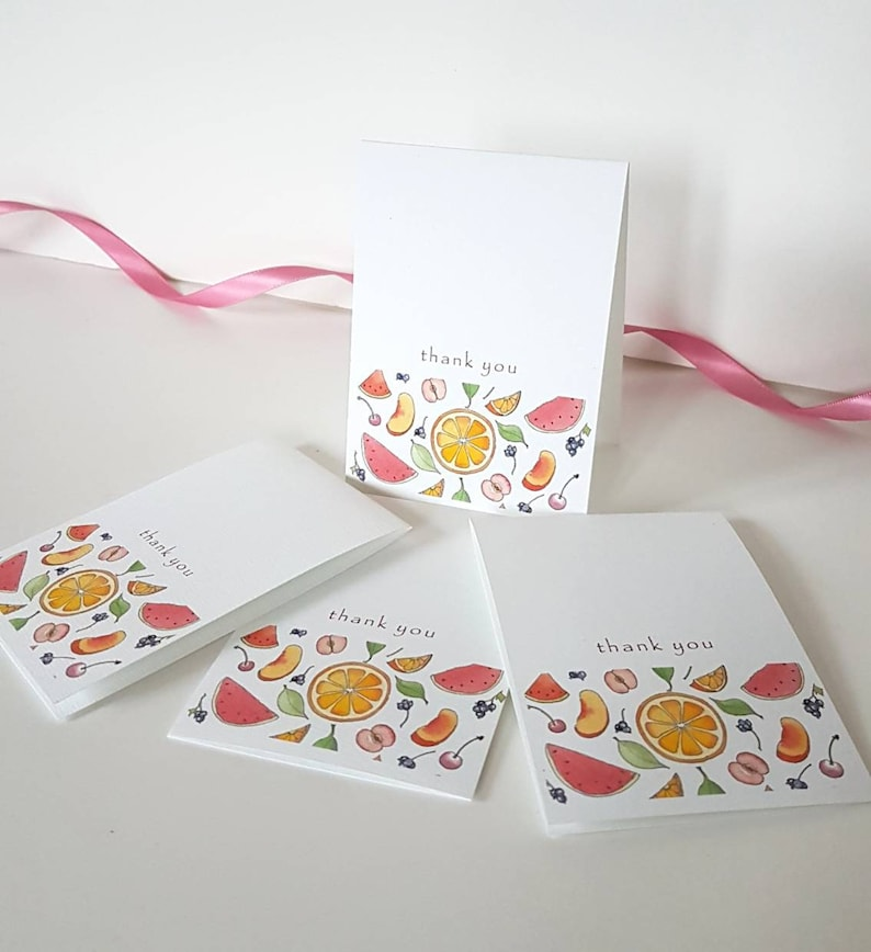 Thank you cards pretty stationery set. fruity colourful set of four tiny illustrated note cards