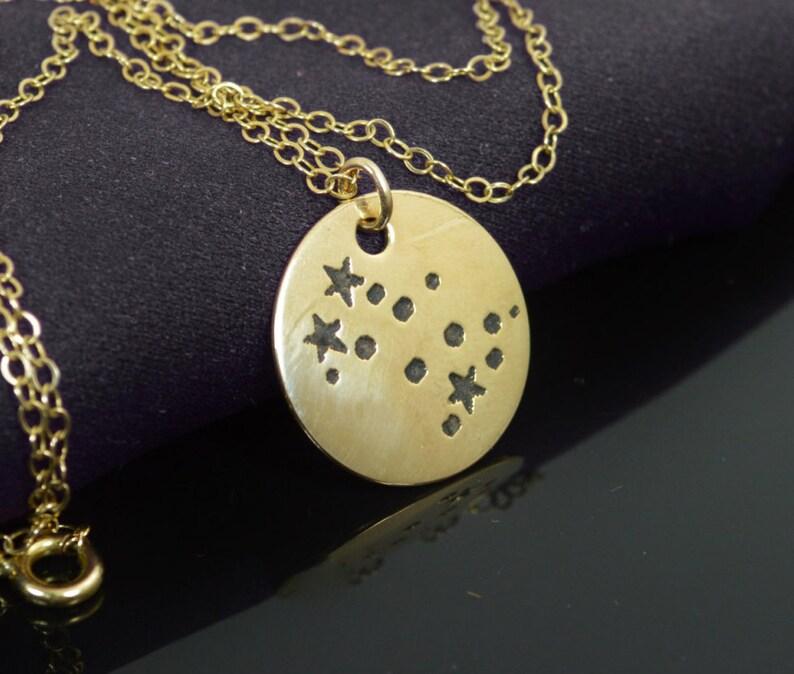 14k Gold Filled Gemini Necklace Gemini Necklace Gold Gemini image 0