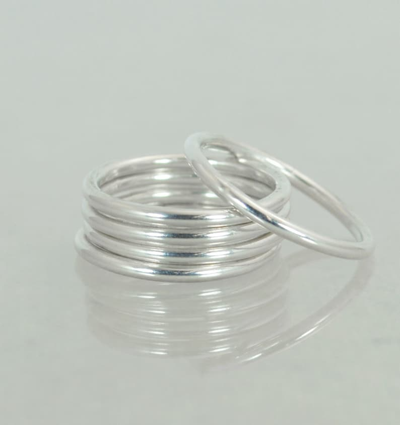 Round Classic Silver Stacking Rings Heirloom Quality Fine image 0