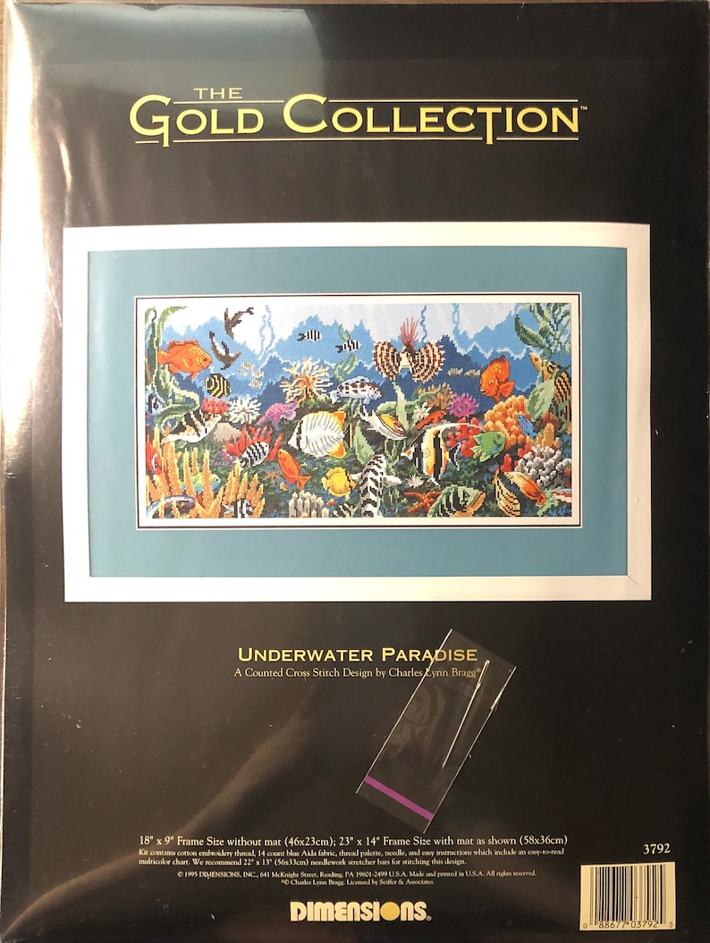 Underwater Paradise by Charles Lynn Bragg for Dimensions Inc Counted Cross Stitch KIT Sea Ocean Coral Fish Animals The Gold Collection