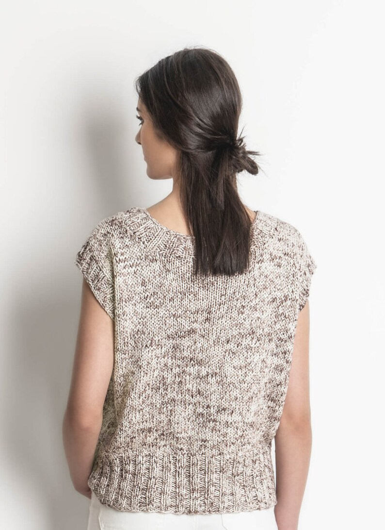 Seven Sisters Top made with organic cotton worsted weight yarn Knitting Pattern by Blue Sky Fibers